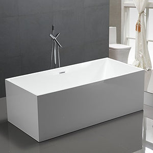 "KIVA RHYME 67"" Freestanding Bathtub, 100% Pure Acrylic Soaking Bath Tub for Bathroom, cUPC Certified, High Glossy White, Model HS-LINEA BOX"