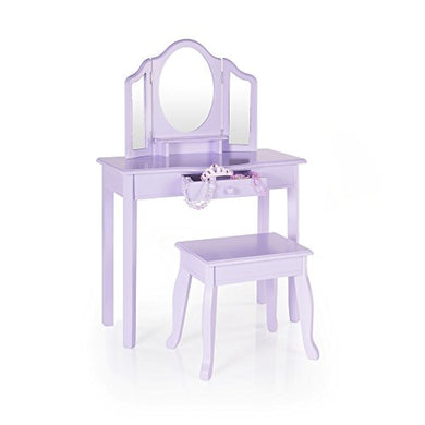 Guidecraft Vanity Table and Stool Set with Mirror and Make-Up Drawer - Children's Furniture - Lavender