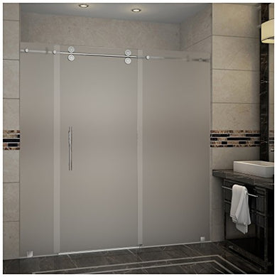 Aston SDR978F-SS-72-10 Langham Completely Frameless Frosted Glass Sliding Shower Door in Stainless Steel Finish, 72