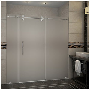 "Aston SDR978F-SS-72-10 Langham Completely Frameless Frosted Glass Sliding Shower Door in Stainless Steel Finish, 72"" x 75"""