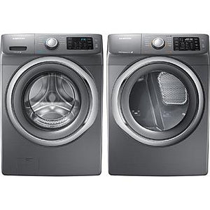 Samsung- High-Efficiency Front-Loading Laundry Featuring 4.2 CF Washer with Steam and Matching GAS 7.4 CF Dryer with Steam(WF42H5200AP+DV42H5200GP) PLATINUM COLOR