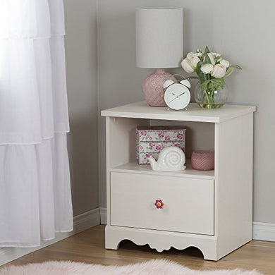South Shore Lily Rose 1-Drawer Nightstand, White Wash