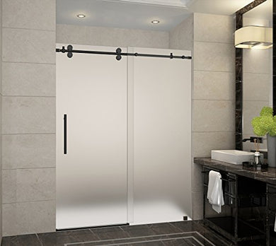 Aston SDR978F-ORB-60-10 Langham x 75 in. Frameless Sliding Shower Door in Oil Rubbed Bronze and Frosted Glass with Handle Completely, 60