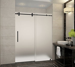 "Aston SDR978F-ORB-60-10 Langham x 75 in. Frameless Sliding Shower Door in Oil Rubbed Bronze and Frosted Glass with Handle Completely, 60"", Oil Rubbed Bronze Finish"