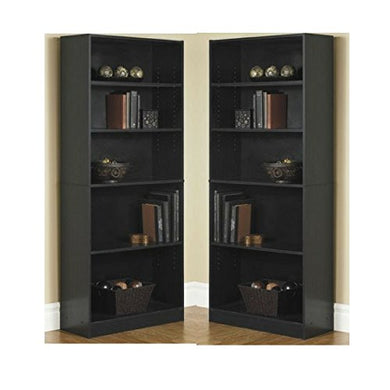 Orion Wide 5-Shelf Bookcase Black (Pack of 2)