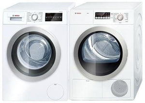 "Bosch 500 Series Laundry Pair with WAT28401UC 24"" Front Load Washer and WTB86201UC 24"" Electric Dryer in White"