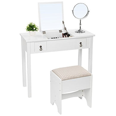 SONGMICS Vanity Set with Flip Top Mirror Cushioned Stool Makeup Dressing Table 2 Drawers 3 Removable Organizers White URDT01M