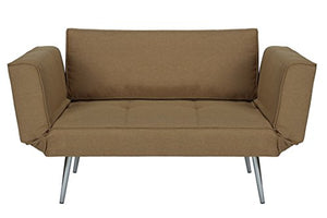 DHP Euro Sofa Futon Loveseat with Chrome Legs and Adjustable Armrests - Tan