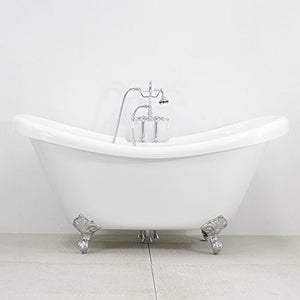 "59"" CoreAcryl Hotel Collection Double Slipper Clawfoot Tub & Faucet Pack, Chrome Fixtures and Feet"