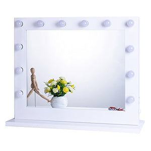 Chende White Hollywood Lighted Makeup Vanity Mirror Light, Makeup Dressing Table Vanity Set Mirrors with Dimmer, Tabletop or Wall Mounted Vanity, LED Bulbs Included (8065, White)