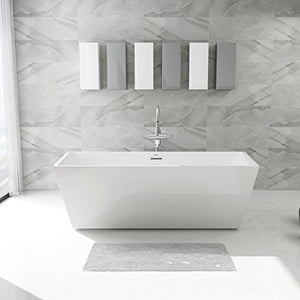 "FerdY Freestanding Bathtub, Soaking Bath Tub, Stand Alone Tub for Bathroom, Contemporary Style, High Glossy, Acrylic, White (67"")"