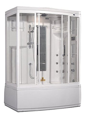 Aston ZAA208-L 9 Body Jets Steam Shower with Whirlpool Bath, Left Hand, 59-Inch x 37-Inch x 86-Inch, White