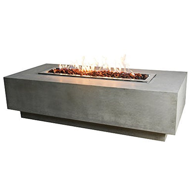 Elementi Granville Fire Table Cast Concrete Natural Gas Fire Table, Outdoor Fire Pit Fire Table/Patio Furniture, 45,000 BTU Auto-ignition, Stainless Steel Burner, Lava Rock included
