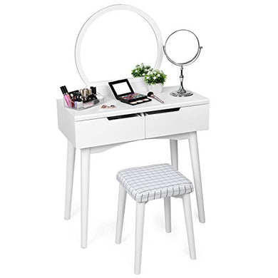 SONGMICS Vanity Table Set with Mirror 2 Large Sliding Drawers Makeup Dressing Table with Cushioned Stool White URDT11W