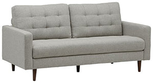 "Rivet Cove Mid-Century Tufted Sofa, 80""W, Light Grey"