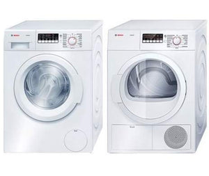 "Bosch White Front Load Laundy Pair With WAT28400UC 24"" 300 Series Washer and WTB86200UC 24"" Ascenta Series Electric Dryer"
