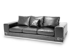 Michael Amini Ciras Leather Mansion Sofa, Black/Stainless Steel