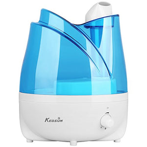 Ultrasonic Humidifier, KEDSUM 2L/0.53 Gallon Cool Mist Room Humidifiers with Adjustable Mist Dial Knob Control,360° Rotatable Mist Outlets,Whisper Quiet,Auto Shut-off Function for Home,Bedroom,Office