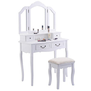 Giantex Tri Folding Mirror Black Wood Bathroom Vanity Set Makeup Table Dresser 4 Drawers + Stool (White)