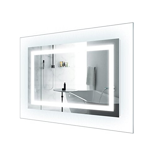 LED Lighted 42 Inch x 30 Inch Bathroom Mirror With Glass Frame | Horizontal or Vertical Installation |