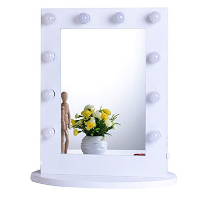 Chende White Hollywood Makeup Vanity Mirror with Light Tabletops Lighted Mirror with Dimmer, LED Illuminated Cosmetic Mirror with LED Dimmable Bulbs, Wall Mounted Lighting Mirror (6550, White)