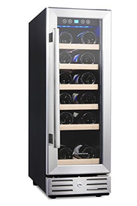 Kalamera 12'' Wine Fridge 18 Bottle Built-in or Freestanding with Stainless Steel & Double-Layer Tempered Glass Door and Temperature Memory Function