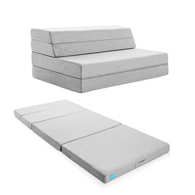 LUCID 4 Inch Folding Mattress and Sofa with Removable Indoor / Outdoor Fabric Cover - King Size