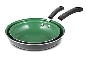 "Chef's Star 2 Piece Ceramic Non-Stick Frying Pan Set - 8"" and 10"" - Green / Gray"