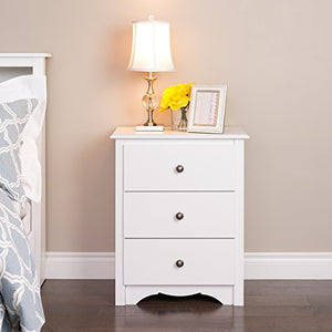 Prepac WDC-2403 Monterey Nightstand, Tall 3-Drawer, White