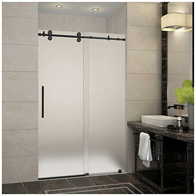 Aston SDR978F-ORB-48-10 Langham Completely Frameless Frosted Glass Sliding Shower Door in Oil Rubbed Bronze Finish, 44