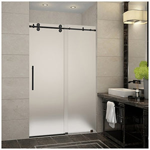 "Aston SDR978F-ORB-48-10 Langham Completely Frameless Frosted Glass Sliding Shower Door in Oil Rubbed Bronze Finish, 44"" to 48"" x 75"""