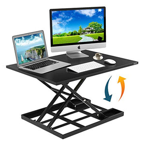 "Height Adjustable Standing Desk Converter Ergonomic Sit Stand Black Riser Large Top Size 32 x 22"" Inch Gas Spring Workstation Anti Fatigue Up & Down Position Dual Monitor Computer Office"