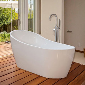 WoodBridge 67'' Modern Freestanding Bathtub with Brushed Nickel Overflow & Drain, B-0001