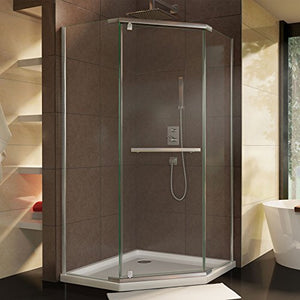 "DreamLine Prism 34 1/8 in. D x 34 1/8 in. W, Frameless Pivot Shower Enclosure, 3/8"" Glass, Brushed Nickel Finish"