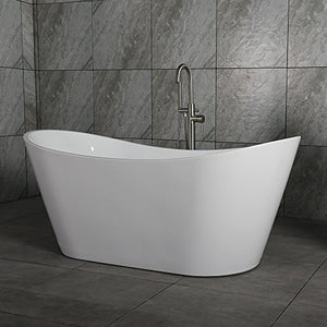 "Woodbridge 67"" Acrylic Freestanding Bathtub Contemporary Soaking Tub with Brushed Nickel Overflow and Drain, B-0010 / BTA1515"
