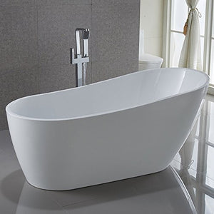 "KIVA RHYME 67"" Freestanding Bathtub, 100% Pure Acrylic Soaking Bath Tub for Bathroom, cUPC Certified, High Glossy White, Model HS-BANANA"