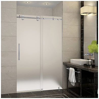 Aston SDR978F-SS-48-10 Langham Completely Frameless Frosted Glass Sliding Shower Door in Stainless Steel Finish, 44