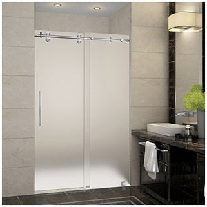 "Aston SDR978F-SS-48-10 Langham Completely Frameless Frosted Glass Sliding Shower Door in Stainless Steel Finish, 44"" to 48"" x 75"""