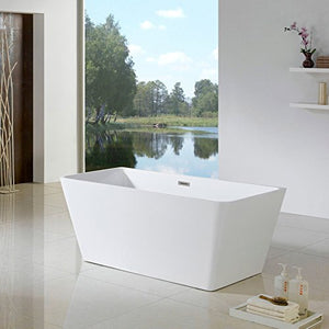 "MAYKKE Burbank 66"" Modern Sloped Acrylic Bathtub 