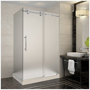 "Aston SEN979-TR-SS-48-10-L  48"" Frameless Sliding Shower Enclosure with Left Shower Tray, Stainless Steel Hardware, 3/8"" (10Mm) Glass"
