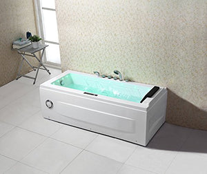 "Empava 67"" Luxury Water Fall Patented Freestanding Jacuzzi Bathtub Twin Motor Hydro-massage Soaking SPA Tub with LED Light EMPV-JT351N"