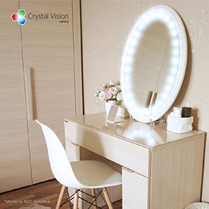 Crystal Vision Hollywood Style Makeup Mirror LED Light Kit Provided by Samsung for Cosmetic Mirror Vanity Mirror w/ Dimmer Controller (100 LED Bulb / 10ft) [Dome Cool White]
