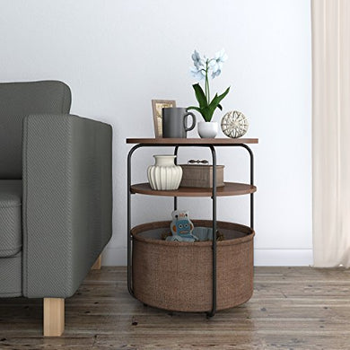 Lifewit 3-tier Round Side End Table with Storage Basket, Nightstand, Espresso, 16.5 x 16.5 x 20 inches