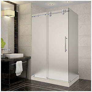 "Aston SEN979-TR-SS-48-10-R  48"" Frameless Sliding Shower Enclosure with Right Shower Tray, Stainless Steel Hardware, 3/8"" (10Mm) Glass"