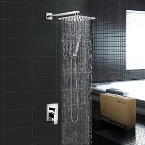 EMBATHER Brass Rainfall Shower Systems Wall Mouthed with rain shower head 10 inch - Adjustable Shower Holder for luxury bathroom Shower Set, Polished Chrome