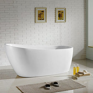 "MAYKKE Covina 67"" Modern Oval Acrylic Bathtub 