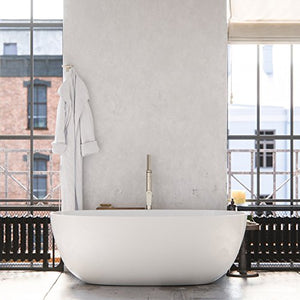 "MAYKKE Barnet 61"" Modern Oval Light Acrylic Bathtub 