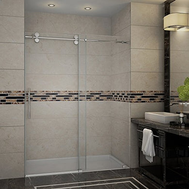 Aston SDR978-SS-72-10 Langham Completely Frameless Sliding Shower Door in Stainless Steel Finish, 72