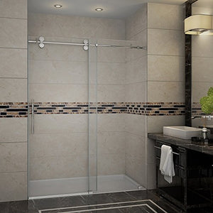 "Aston SDR978-SS-72-10 Langham Completely Frameless Sliding Shower Door in Stainless Steel Finish, 72"" x 75"""