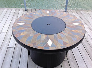"42"" Natural Slate and Copper Top Outdoor Propane Gas Fire PIt Table: Black Frame"